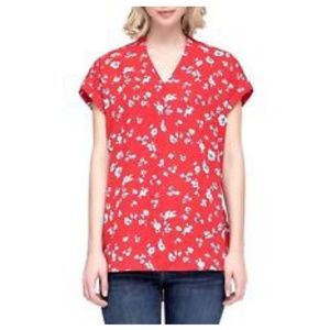 Pleione Tops - Red floral Pleione blouse